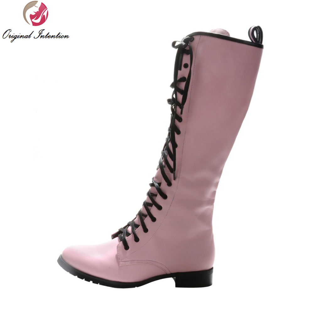 Original Intention Elegant Women Knee-high Boots Fashion Lace Up Round Toe Square Heels Boots Pink Shoes Woman Plus Size ancient greek lace up leather suede knee high women boots round toe thick high heels fashion woman motorcycle boots shoes women