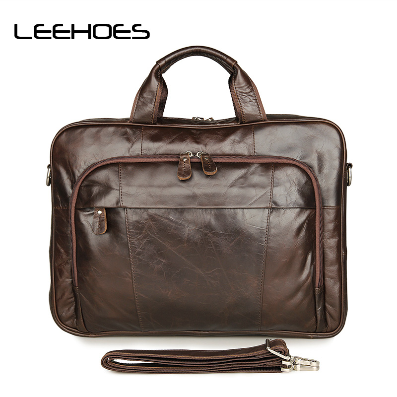 Men Genuine Leather Handbag 15 Inch Computer Bag Business Foreign Trade Male Briefcase Luxury Shoulder Bags Laptop Messenger Bag new high quality male leather men laptop briefcase bag 14 inch computer bags handbag business bag single shoulder business bags