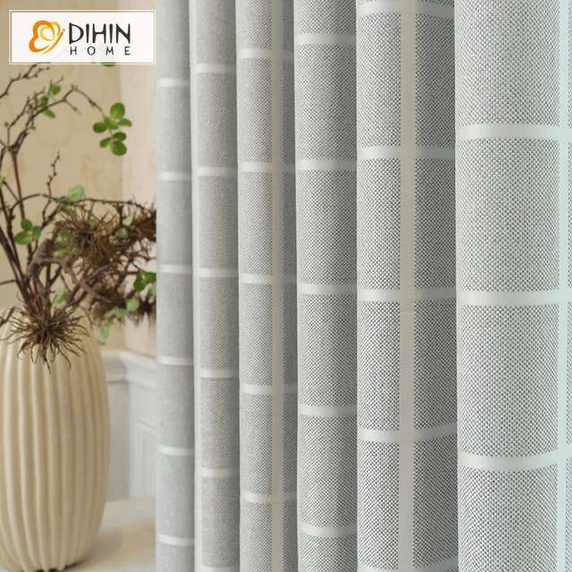 DIHIN HOME Modern Striped Blackout Curtain High Quality Window Treatment Drapes For Living Room