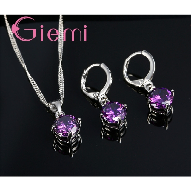 Giemi Hot Sale 8 Colors Crystal Pendant Necklace Earrings Set S90 Silver Color Elegant Jewelry Set Women Valentine Gifts 4