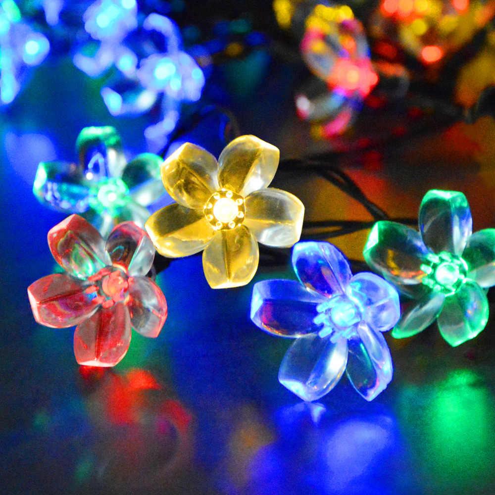 Открытый солнечный светильник светодиодный Строка Фея фонари газон солнечной Мощность гирлянды Сад Свадебные Рождество праздничные украшения 4 стиля огни