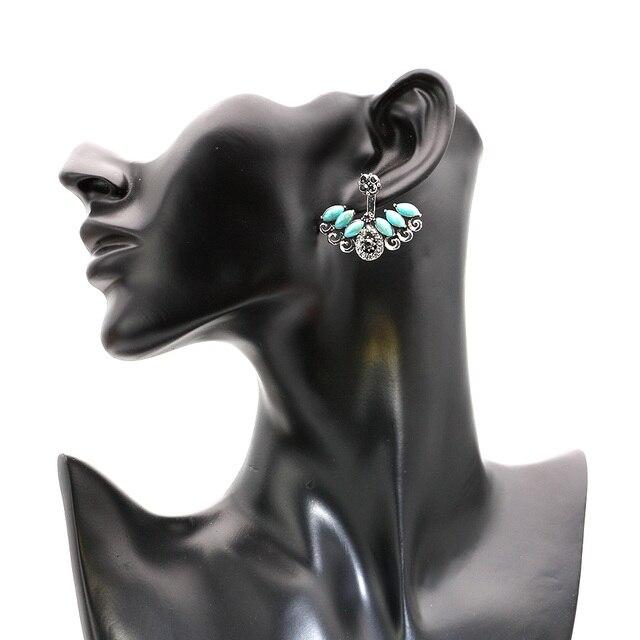 SUNSPICE MS Unique turc boucles doreilles pour femmes bleu résine Double face cristal boucle doreille femme Brinco mariée bijoux Vintage