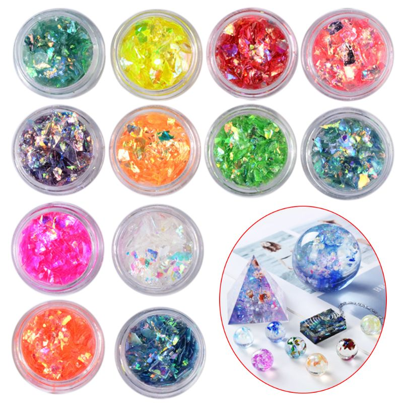 12 Boxes Manicure Shell Cellophane Colorful Candy Aurora Papers Hard Epoxy Filling Nail Polish Adhesive Decorative Dotted Hand