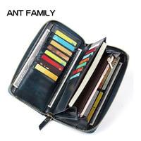 Fashion Vintage Genuine Leather Women Wallets Long Zipper Wallet New Big Capacity Clutch Card Holder Wallet Ladies Purse Portfel
