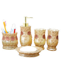 Vintage Classic Luxury Bathroom Bath 5Pcs Set 3D Decor Accessories Collection Set For Hotel Home Gold