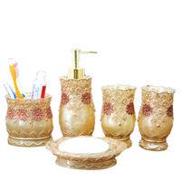 Vintage Classic Luxury Bathroom Bath 5Pcs Set 3D Decor Accessories Collection Set For Hotel Home Gold