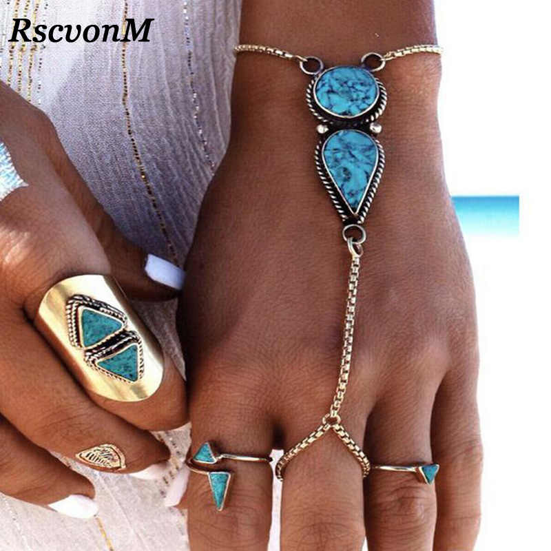 Bohemian Blue Stone Bracelets Geometric Alloy Connect Finger Chain Bracelet For Women 2017 Fashion Brand Jewelry  Wristband