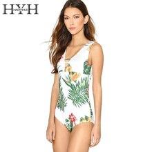 HYH HAOYIHUI Sexy V Neck Flower Plants Printed Bodysuits Hollow Out Swimwear Beach Jumpsuits Rompers Women Bathing Bodysuit