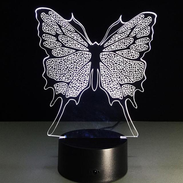 Borboleta 3D Visual Led Luzes Da Noite 3D Luminaria Lâmpada de Mesa Luz Da Noite Levou Interruptor Remoto Iluminação Decorativa Lâmpada Humor