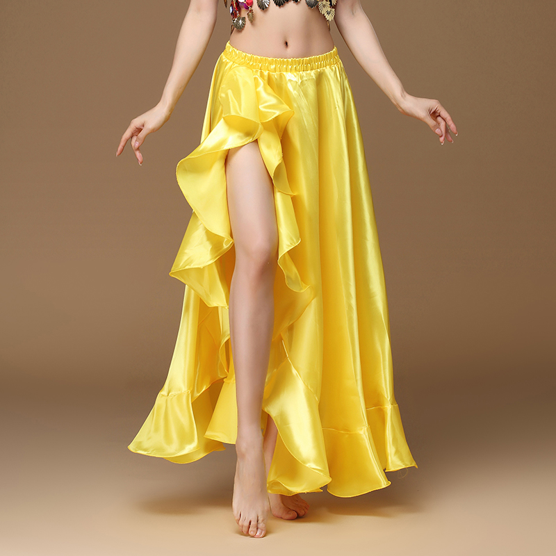 2020 New Belly Dancing Side Pulling Long Satin Skirt Lady Belly Dance Skirts Women Sexy Oriental Belly Dance Skirt Professional