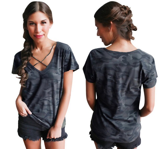 9d7c2b56 Street Style Women's Summer T-Shirts Top Printed Camouflage Casual Loose T  Shirt Short Sleeve V-neck Loose Tee Shirt