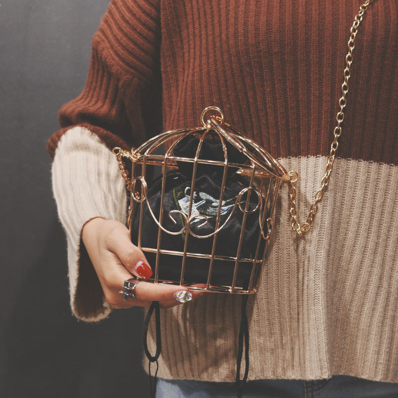 Tassel Handbag Bucket-Bird-Cage Clutch Embroidery Metal-Frame Mini-Bag Purse Women Gold