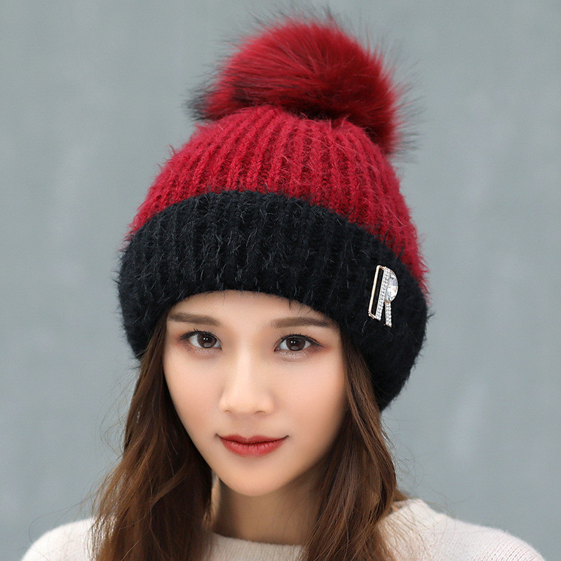 Ymsaid 2018 New PomPoms Winter Hat For Women Fashion Solid Warm Hats Knitted Beanies Cap Brand Thick Female Cap 11.11