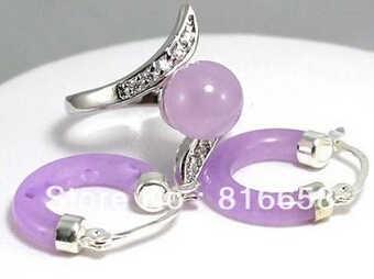 סט משלוח חינם תכשיטי טבעת כסף סגול טבעי עגול עגילי חישוק