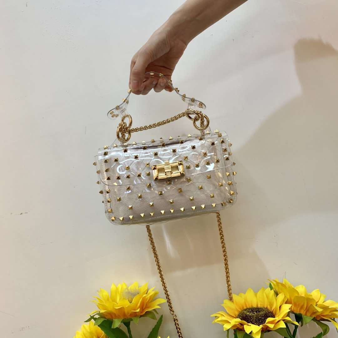 Brand high quality designer purses and handbags ladies clutch bag transparent tote clear pvc satchels women
