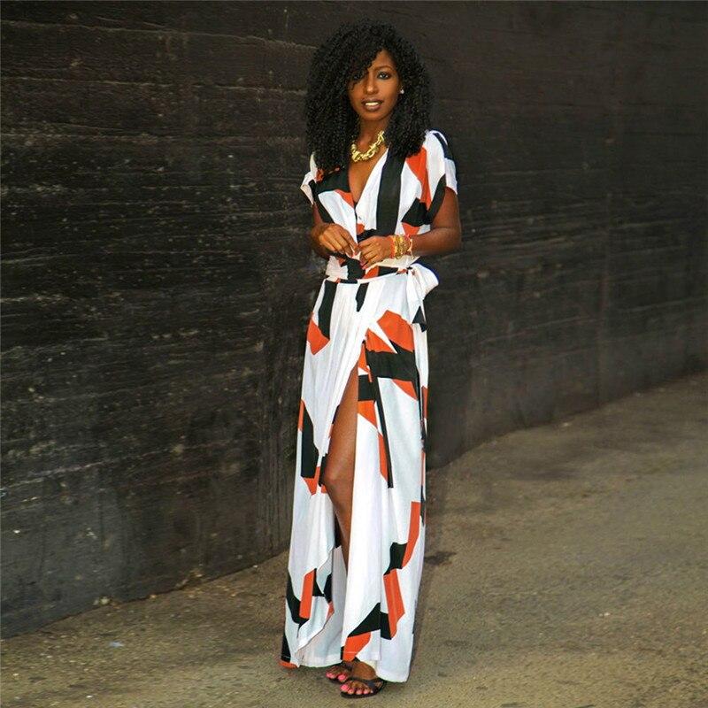 Короткий рукав Для женщин летнее платье с геометрическим принтом Для женщин летние длинные Бохо макси платье V Средства ухода за кожей Шеи В...