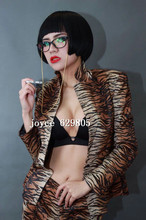 Womne's Sexy Leopard Suits Slim Skinny Stage Dance Wear Costume Long Sleeve Suit Dress Female Singer Jacket Pants Clothing Set