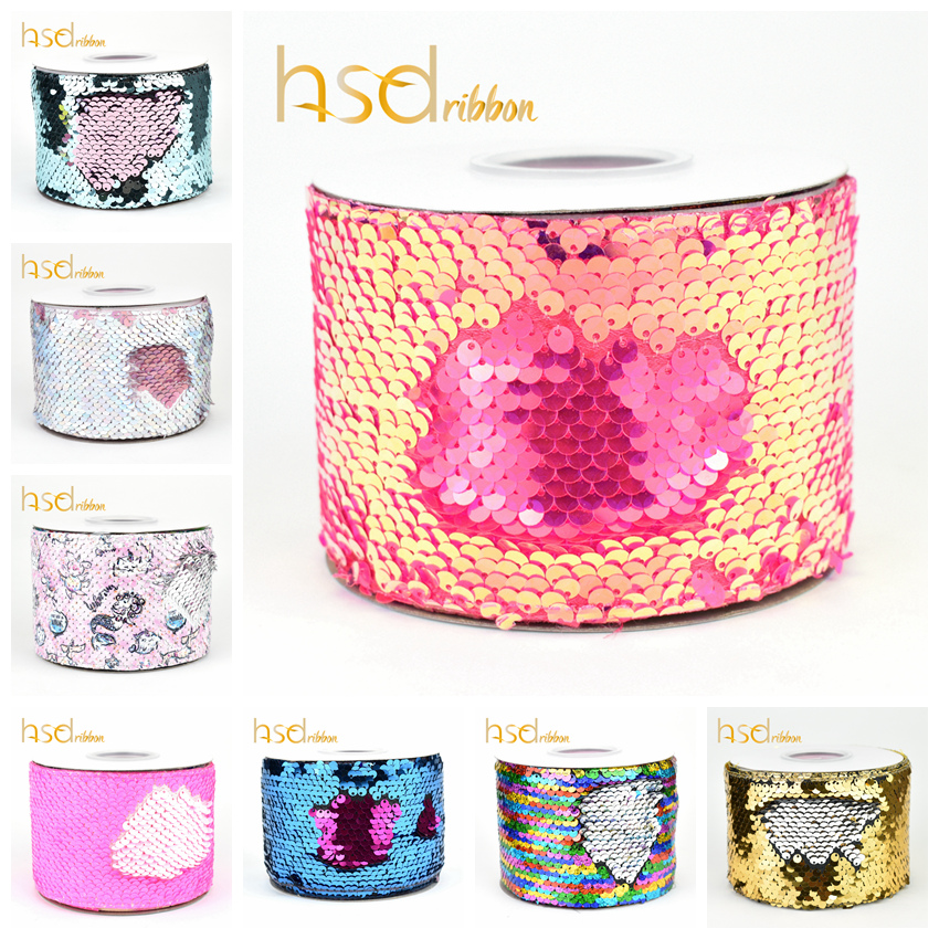 HSDRibbon 75mm double color Sequin Fabric Reversible Glitter  Sequin Ribbon 25Yards per Roll for diy bowsRibbons