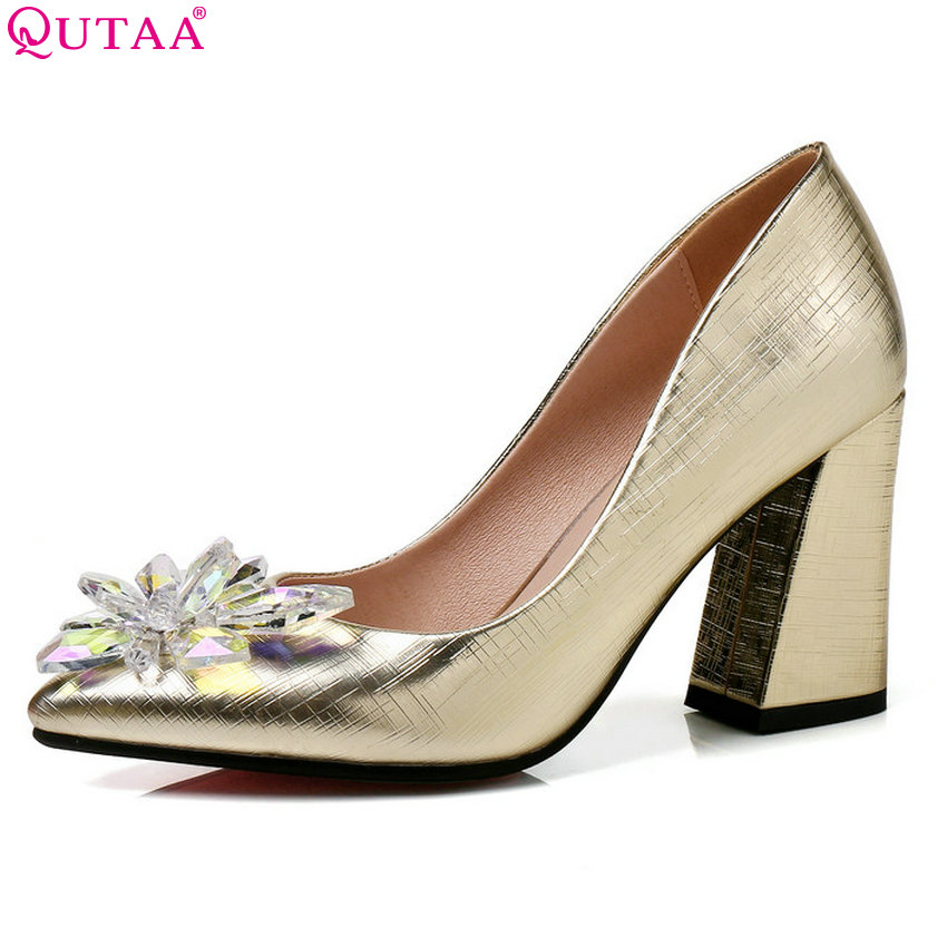 QUTAA 2018 Women Pumps Pointed Toe Fashion Women Shoes Slip on Flower Square High Heel Casual Women Wedding Pumps Size 34-43 women s fashion pointed toe elegant women pumps high heels flower embroider silk super high heel 9cm black green slip on shoes