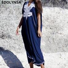d56e6a7361471 Boy Mavi Nakış V Yaka Kısa Kollu Yaz Plaj Elbise Artı Boyutu Tunik Kadın  Beachwear Batwing Kollu uzun elbise N660