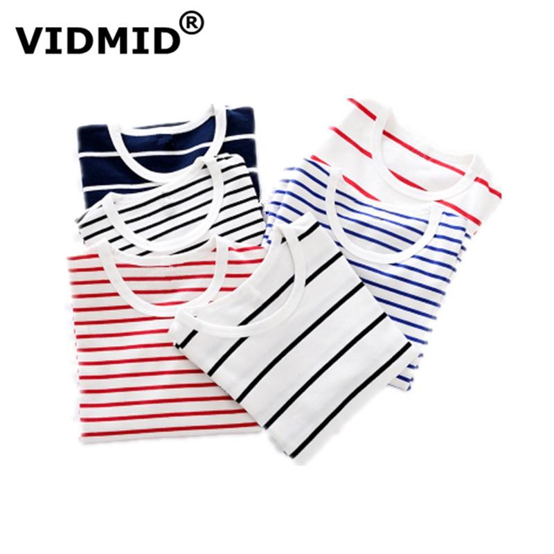 VIDMID Girls T-Shirts Tops Tees Long-Sleeve Boys Striped Baby Autumn Kids Cotton 2001
