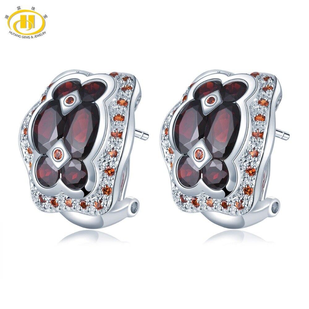 Hutang pierre naturelle grenat Clip boucles d'oreilles pierres précieuses solide 925 en argent Sterling pour les femmes filles bijoux fins meilleur cadeau d'anniversaire nouveau