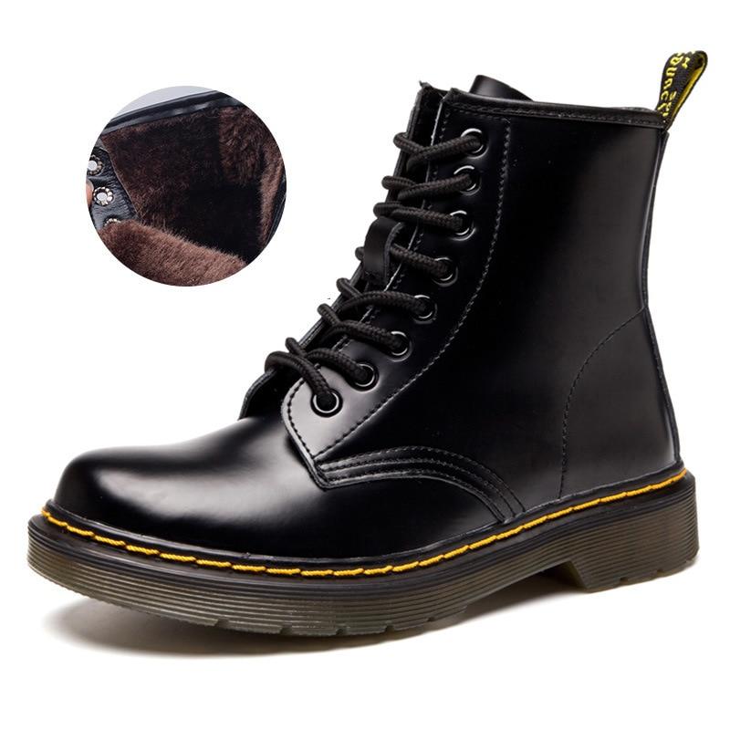 Femmes bottes classique en cuir véritable Chaussures femmes automne hiver bottes en cuir Punk cheville Botas Mujer fourrure hiver Chaussures Femme