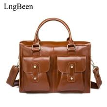 Lngbeen Genuine Leather Coffee Men Briefcase Laptop Business Bag Cowhide Men's Messenger Bags Luxury Lawyer Handbags LB8819