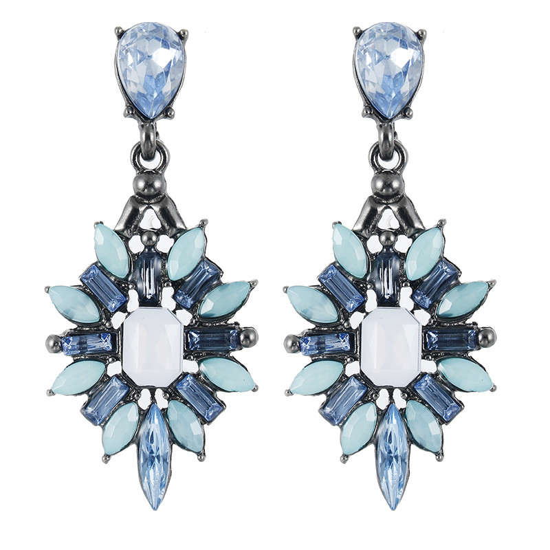 New Colorful Flower Large Starburst Crystal Pendant Stud Pendant Design Luxury Brand Jewelry Statement Jewelry Earrings
