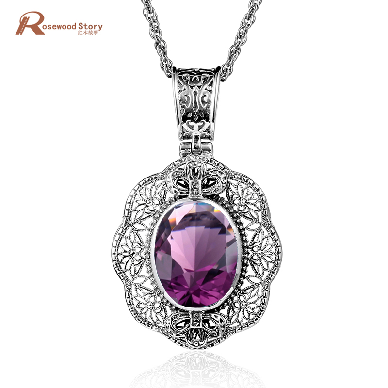 925 Sterling Silver Pendants Vintage Handmade Charm Women Evening Party Pendant Created Peridot Sapphire Ruby Topaz CZ Jewelry