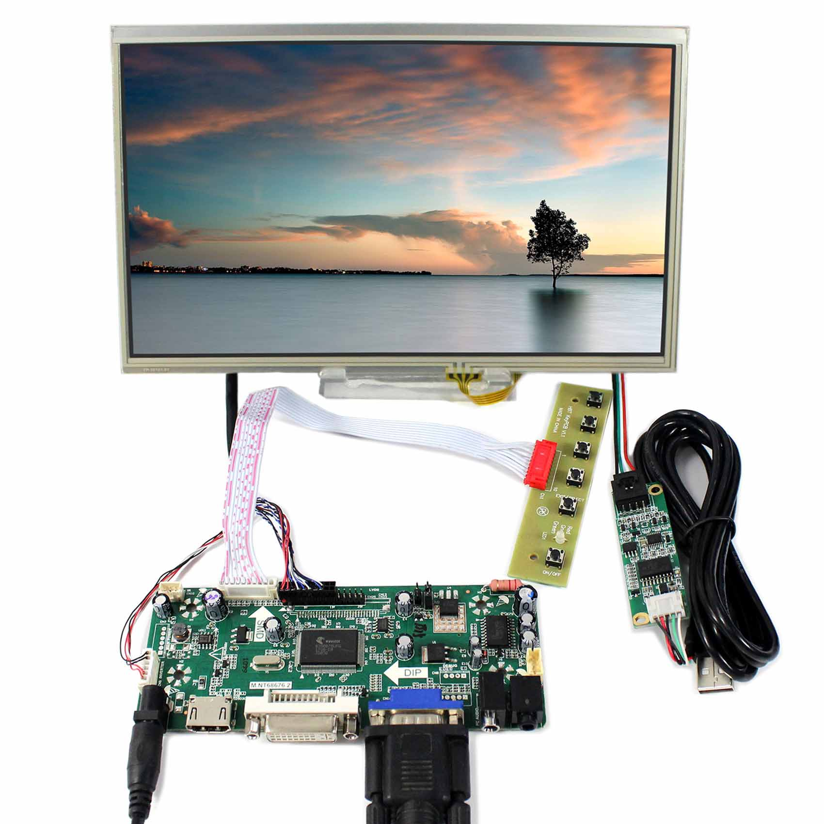HDMI DVI VGA LCD Controller Board 10.1inch B101AW03 1024x600 Touch LCD Screen free shipping vga audio hdmi dvi lcd controller board hdmi dvi for 10 1 inch 1024x600 n101l6 l0a n101l6 l02 wled lvds lcd panel