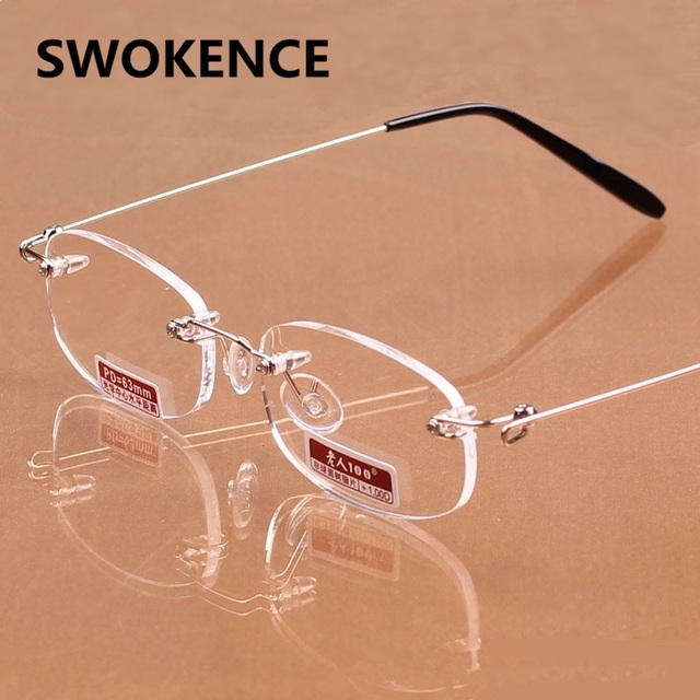 a5e1033ced973 SWOKENCE Exquisite Rimless Reading Glasses Women Brand Designer Minimalist Elegant  Presbyopic Eyewear Female HD Resin Lens G448