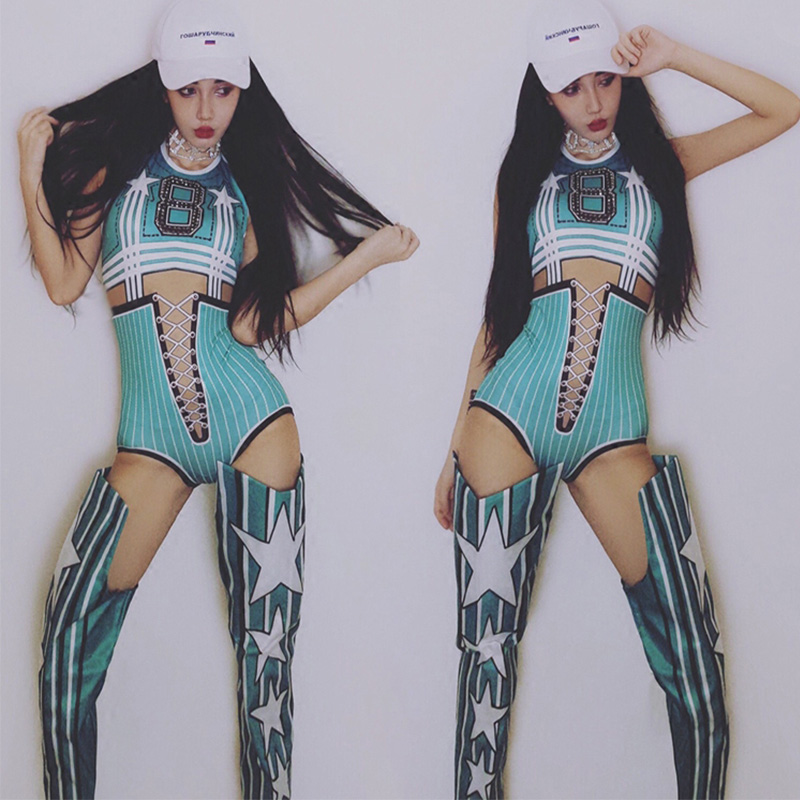 Stage Costumes For Singers Fashion Print Jumpsuit Cheerleader Costume Nightclub Dj Women Birthday Outfit Rave Clothes DNV10705