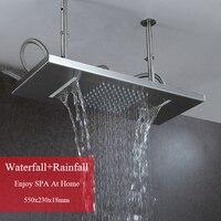55*23cm Shower Head Rainfall Waterfall Brushed Shower Panel Rain Bathroom Fixture Accessories Rectangle Shower Rose Water Saving