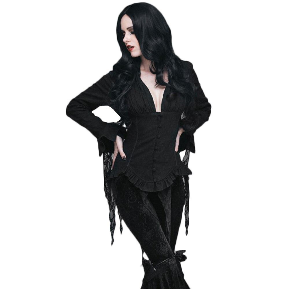 Steampunk Blouses femme rétro Palace manches longues dentelle gland chemises Top noir blanc Court Sexy Blouse