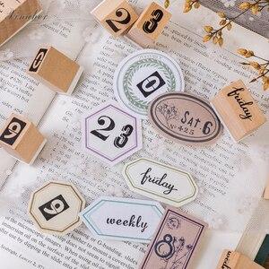 Image 5 - Timbres en caoutchouc, Vintage nombres créatifs, timbres de la semaine, timbres en bois, papeterie pour scrapbooking, standard, 1 ensemble, DIY bricolage