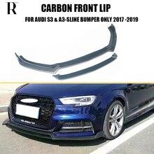 цена S3 Carbon Fiber Front Bumper Lip Chin Spoiler for Audi A3 Sline & S3 2017 2018 2019 ( Not Fit A3 Standard & Rs3 ) онлайн в 2017 году