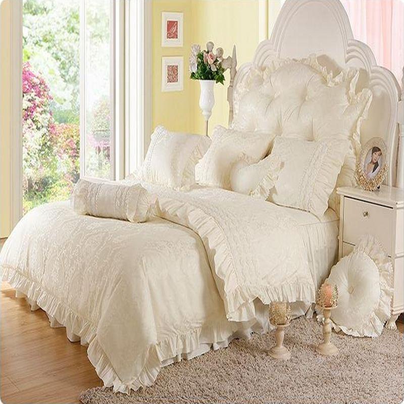 unids jacquard princesa juego de cama queen king size lace ruffles edredn
