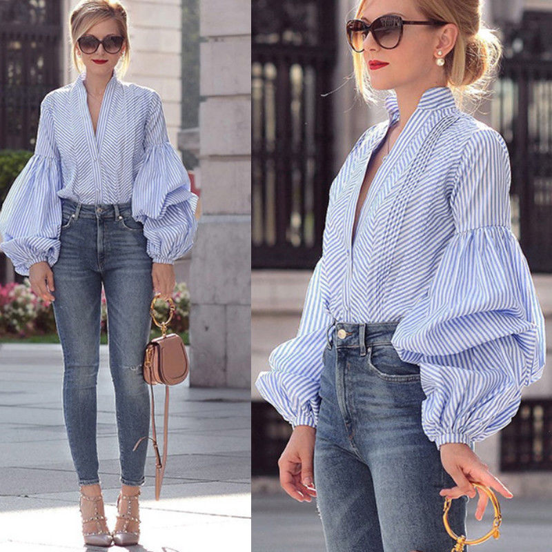 Plaid Blouse Shirt Autumn Top Long-Puff-Sleeve Harajuku Party Sexy Women Casual Fashion