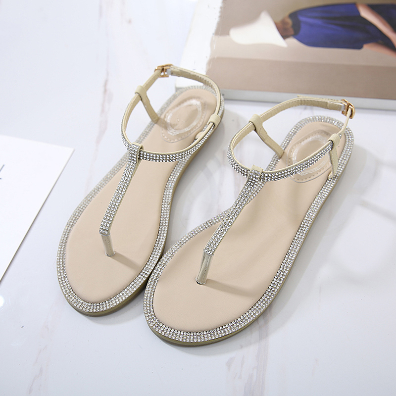 Koovan Women's Rhinestone Sandals 2018 Summer New Style Rhinestone Elegant Flat Women's Flip Comfortable Girls Beach Flats