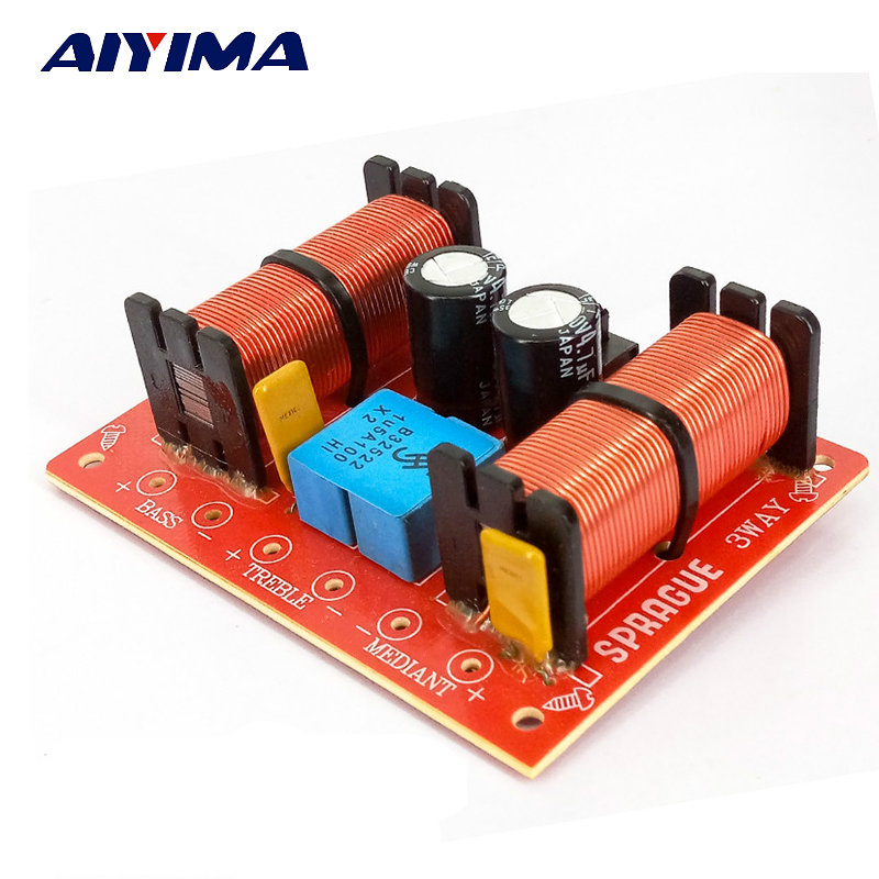 цены Aiyima 2pcs New Multi Speaker 3 Unit Audio Frequency Divider 3 Way Crossover Filters For SPRAGUE 100W