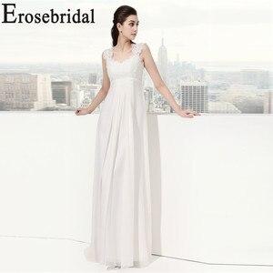 Image 2 - Erosebridal White Ivory Wedding Dress New Design 2019 Classical Beach Bridal Gown Elegant Lace Up Back In Stock