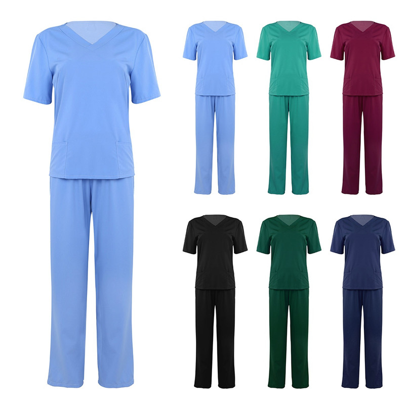Top Suits Costume Uniform Short-Sleeves Long-Pants Medical-Doctor Nursing-Scrubs Unisex