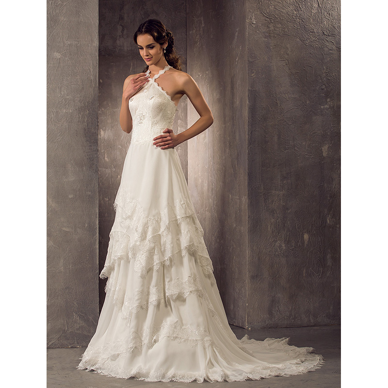 7bf2aa86df4 LAN TING BRIDE Sheath   Column Halter Court Train Wedding Dress Chiffon Lace  Bridal Gown with Beading Tiered