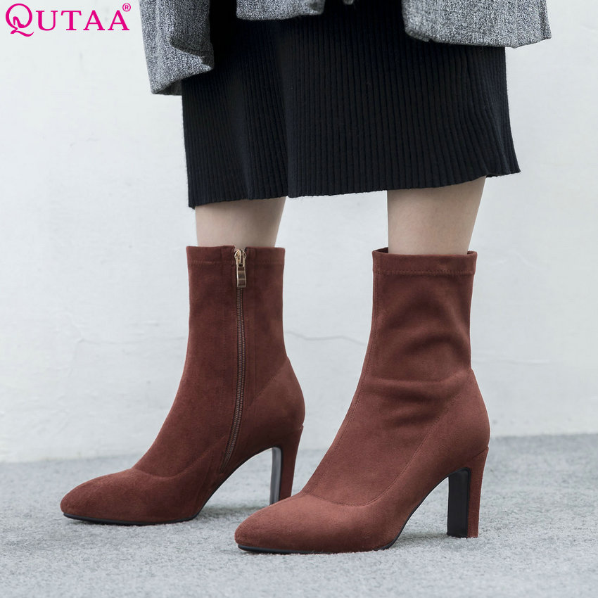 QUTAA 2019 Women Boots All Match Winter Boots Women Shoes Zipper Women Mid Calf Boots Thin High Heel Women Boots Size 34-42 qutaa national style winter women shoes genuine leather flat heel mid calf boot zipper women motorcycle snow boots size 34 40