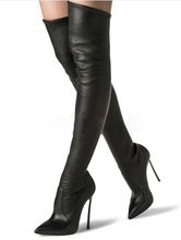 Casad Thin High Heels Over Knee Thigh High Boots Suede Leather Sheepskin High Heels Pointed Toe Slim Fit Autumn Boots Shoes