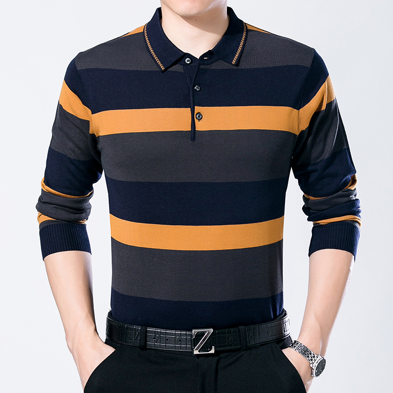 Hot Sale Mens Autumn Hit Color Stripes Knit Shirt Long Sleeve Male Casual Turn-Down Collar Thin Sweater Shirt Pullpovers