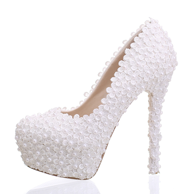 0b06f2d0c1 White Lace Bridal Shoes Stiletto Heel Women Shoes Beautiful Bridesmaid  Shoes Birthday Party Pumps Free Shipping Ceremony Shoes-in Women's Pumps  from ...