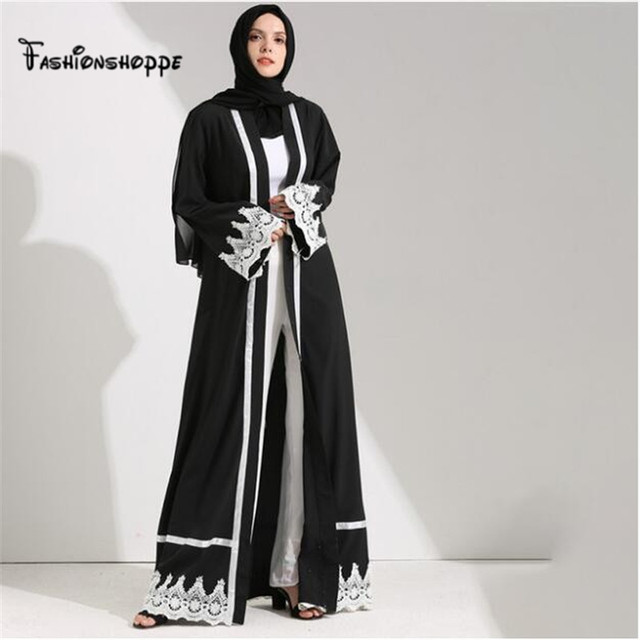 4177ffbe9f62 Dubai Style Front Open Lace Muslim Kimono Abaya Kaftan Dresses Islamic  Indian Clothes For Women Jilbab Maxi Robe Ramadan D285