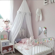 Nordic Kids Room Decoration Cotton Balls Mosquito Net Childrens Play Game Tents Mantle Bedding Round Dome Hanging Bed Valance